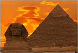 The Sphinx And Great Pyramid, Egypt Affiche par Dmitry Pogodin