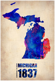Michigan Watercolor Map Posters by  NaxArt