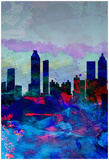 Atlanta Watercolor Skyline Pôsters por  NaxArt