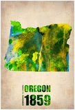 Oregon Watercolor Map Print by  NaxArt
