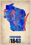 Wisconsin Watercolor Map Photo by  NaxArt