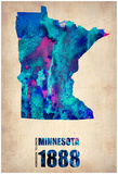 Minnesota Watercolor Map Prints by  NaxArt