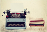 Old Typewriter With Books Retro Colors On The Desk Photo by  Artush