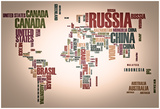 World Map: Countries In Wordcloud Posters par  alanuster