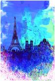 Paris Watercolor Skyline Affiches par  NaxArt