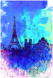 NaxArt - Paris Watercolor Skyline Obrazy