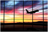 Airport Window With Airplane Flying At Sunset Posters by  viperagp