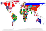 Map Of World With Flags In Relevant Countries, Isolated On White Background Photo by  Speedfighter