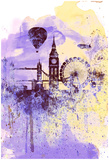 London Watercolor Skyline Posters by  NaxArt
