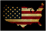 Declaration Of Independence Grunge America Map Flag Plakater af  Veneratio
