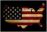Declaration Of Independence Grunge America Map Flag Posters van  Veneratio