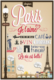 Typographical Retro Style Poster With Paris Symbols And Landmarks Posters par  Melindula