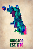 Chicago Watercolor Map Posters by  NaxArt