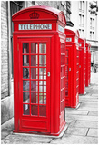 Row Of Iconic London Red Phone Cabins With The Rest Of The Picture In Black And White Prints by  Kamira