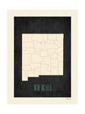 Black Map New Mexico Print