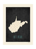 Black Map West Virginia Prints