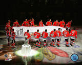 The Chicago Blackhawks 2013 Championship banner raising ceremony Photo