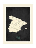 Black Map Spain Prints