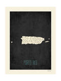Black Map Puerto Rico Poster