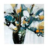 Blooms in Shamrock Grey Poster by Angela Maritz