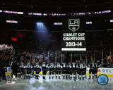 The Los Angeles Kings raise their 2013-14 Stanley Cup Championship Banner Photo