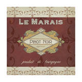 Burgundy Wine Labels I Print by Erica J. Vess