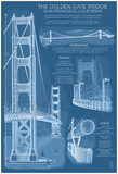San Francisco, Ca, Golden Gate Bridge Technical Blueprint Photo