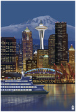 Seattle, Washington At Night - Image Only Posters