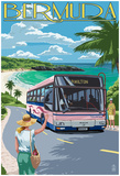 Bermuda - Pink Bus On Coastline Posters