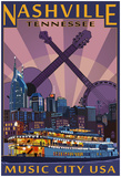 Nashville, Tennessee - Skyline At Night Poster