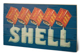 Shell - Five Cans 'Shell', 1920 Wood Sign