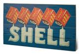 Shell - Five Cans 'Shell', 1920 Cartel de madera