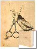 Scissors And Comb Wood Print by Boyan Dimitrov