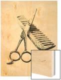 Scissors And Comb Wood Print by Boyan Dimitrov
