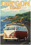 Oregon Coast, Cruising The Coast, Vw Bug Van Photo