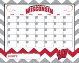 Wisconsin Badgers Dry Erase Calendar Novelty