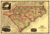 North And South Carolina - Panoramic Map Print