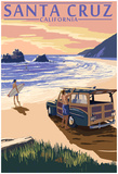 Santa Cruz, California - Woody On Beach Posters