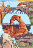 Utah National Parks - Delicate Arch Center Poster