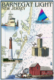 Barnegat Light, New Jersey - Nautical Chart Posters