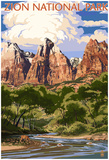 Zion National Park - Virgin River And Peaks Photo
