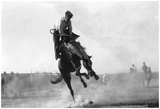 Cowboy Riding Bronco In Burns, Or Rodeo Photograph - Burns, Or Posters