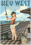 Key West, Florida - Fishing Pinup Girl Prints