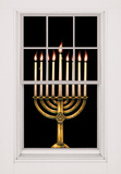 Menorah with Peel-away Candle Reveals WOWindow Poster Vinilo para ventana
