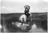Cheyenne Indian, Wearing Headdress, On Horseback Photograph Print