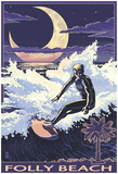 Folly Beach, Sc - Sufer With Palmetto Moon Posters