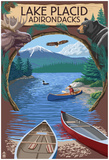 Lake Placid, New York - Adirondacks Canoe Scene Prints