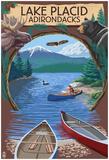 Lake Placid, New York - Adirondacks Canoe Scene Prints