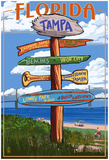Tampa, Florida - Sign Destinations Print