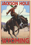 Jackson Hole, Wyoming Bucking Bronco Poster